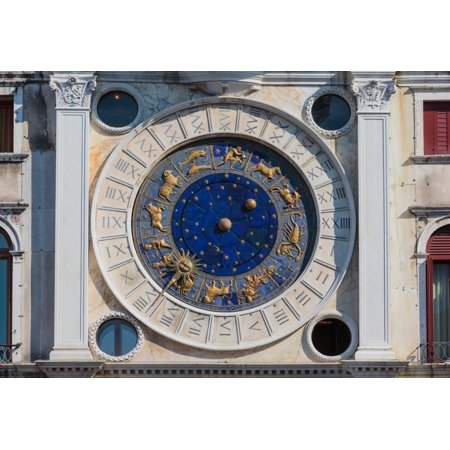Venice  Venice Province  Veneto  Italy. The clock on the Torre dell'Orologio  or the Clock Tower  in Piazza San