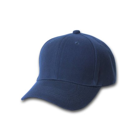 Plain Fitted Curve Bill Hat, Navy 7 1/4 ()