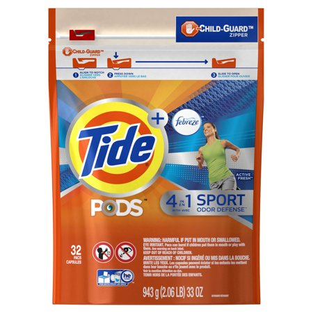 Tide Pods Plus Febreze Sport Odor Defense Laundry Pacs  Active Fresh Scent  32 Count  Designed For Regular And He Washers