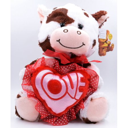 valentines day 105 cow white brown light up plush holding a heart love message - Walmart Valentines Stuffed Animals