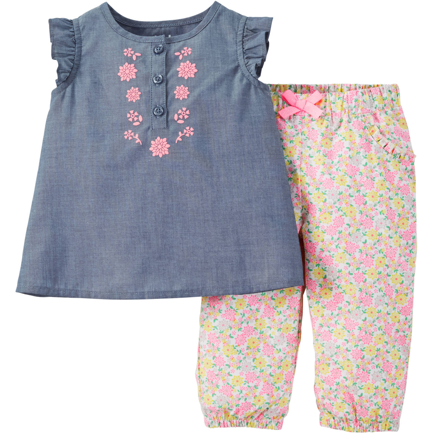 Child of Mine made by Carter's Newborn Baby Girls' Woven Top and Pant Outfit Set 2 Pieces