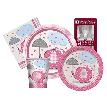 Pink Umbrellaphants Baby Girl Themed Shower Party Supply Kit Serves 8 - Summer Baby Shower Themes