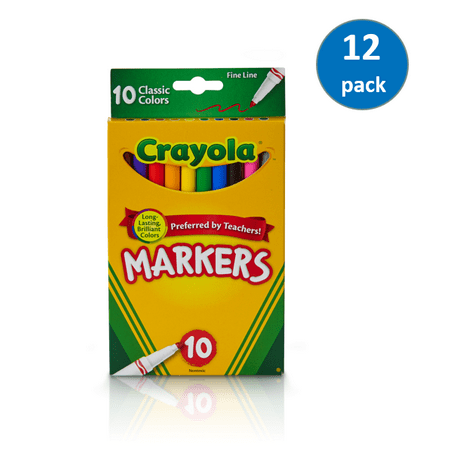 Crayola Classic 10 Count Fine Line Markers; Pack of (Line Lawn Marker)