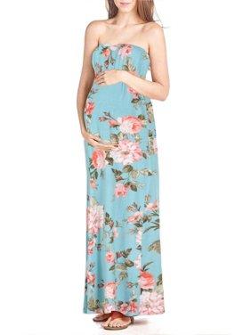 Beachcoco Women's Maternity Comfortable Maxi Tube Dress (S, Multi 10 Ivory)