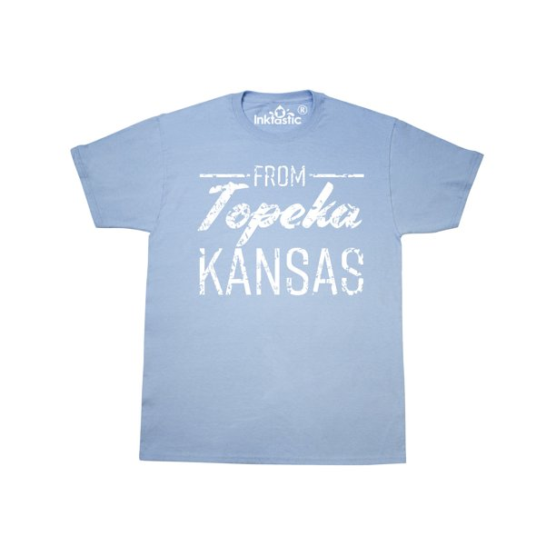 From Topeka Kansas in White Distressed Text T-Shirt