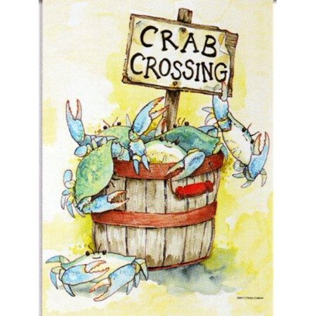 Image of Nautical Crab Crossing Blue Crab Standard Flag Banner SF