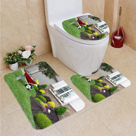 CHAPLLE Planting a celosia Flower Garden Around a House 3 Piece Bathroom Rugs Set Bath Rug Contour Mat and Toilet Lid Cover (A House To Let)