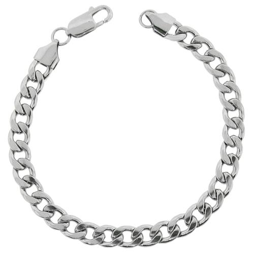 BIG Jewelry Co Stainless Steel Men's 8.75-inch Curb Chain Bracelet