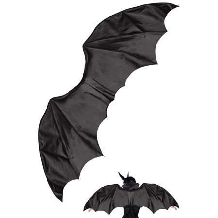 Black Vinyl Gothic Bat Dragon Wings Adult Medieval Anime Costume Accessory for $<!---->