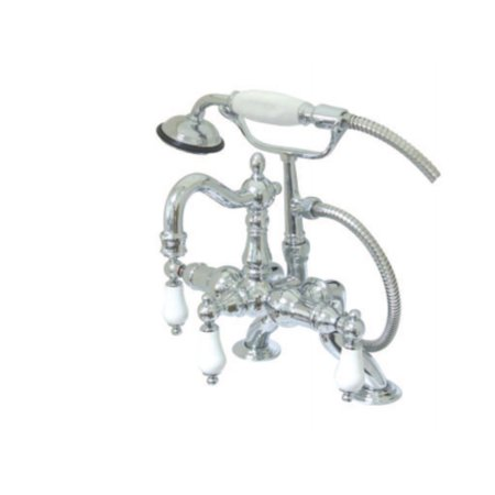kingston brass cc2012t1 3.37 x 10 in. adjustable deck mount leg tub filler with hand shower & metal lever handle chrome