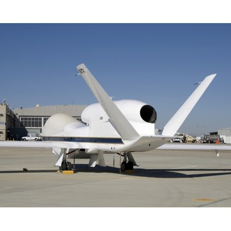 - December 3 2007 - The above-the-fuselage engine and V-tail distinguish one of two Global Hawk unmanned aircraft parked on the ramp at the Dryden Flight Research Center Poster Print