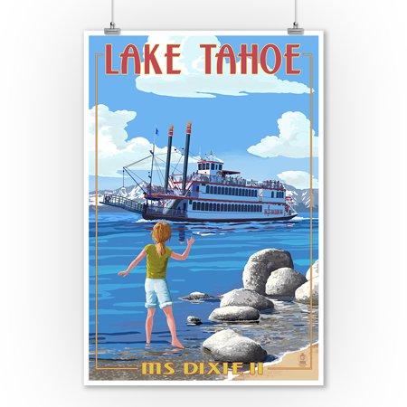 Lake Tahoe - MS Dixie II Paddleboat - Lantern Press Poster (9x12 Art Print, Wall Decor Travel Poster)