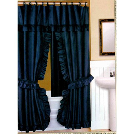 DOUBLE SWAG FABRIC SHOWER CURTAIN, VINYL LINER, SHOWER RINGS, DOBBY DOT DESIGN, NAVY