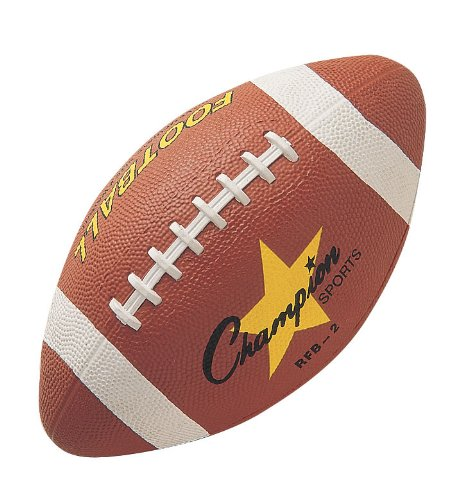 Intermediate Size Rubber Football, Water resistant pro rubber cover By Champion Sports