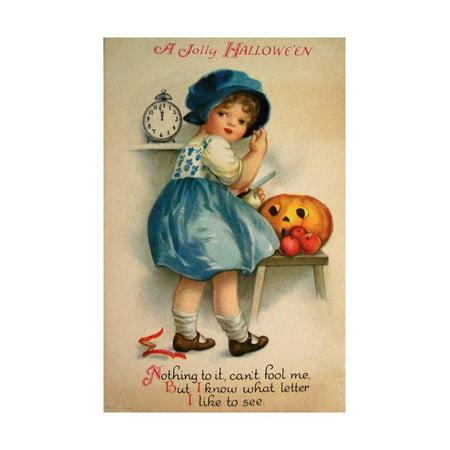 Vintage Halloween Collector (Halloween Blue Girl Clock Print Wall Art By Vintage Apple)