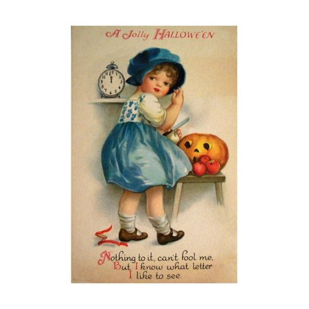 Halloween Blue Girl Clock Print Wall Art By Vintage Apple Collection](Vintage Halloween Photos For Sale)