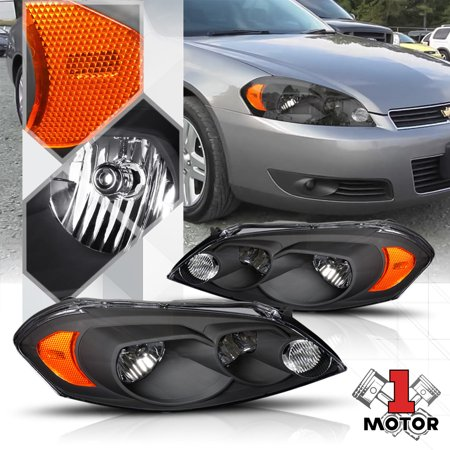 Black Housing Headlight Amber Corner Signal For 06 16 Chevy Impala Monte Carlo 07 08 09 10 11 12 13 14 15