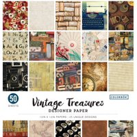 "Colorbok 12"" Vintage Treasures Designer Paper, 50 Count"