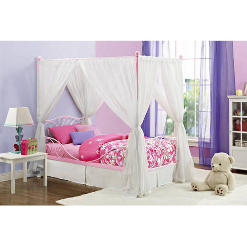 Canopy Twin Metal Bed, Multiple Colors