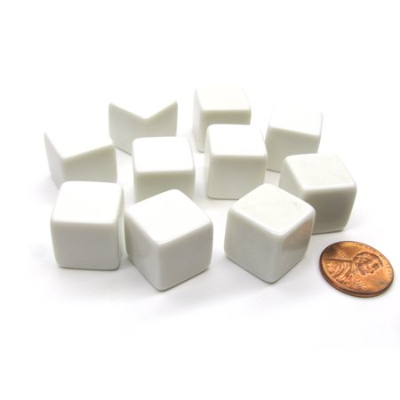 Koplow Games Set of 10 D6 16mm Blank Opaque Dice - White #01989