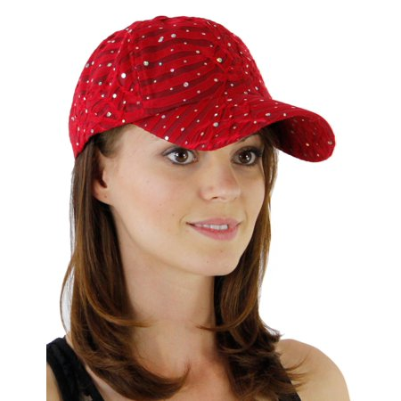 Sequin Baseball Cap - Greatlookz Glitzy Game Flower Sequin Trim Baseball Cap for Ladies in Many Colors