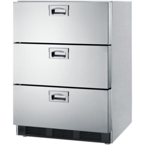 """Summit SP6DS7 24"""" CommercialTriple Drawer Refrigerator with Adjustable Thermostat and Recessed Handles"""