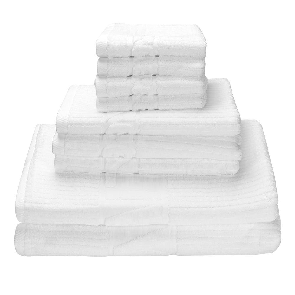 8-Piece Premium Towel Set 100% Cotton, 2 Bath Towels, 2 Hand Towels 4 Washcloths,White-LIVINGbasics - image 3 of 5