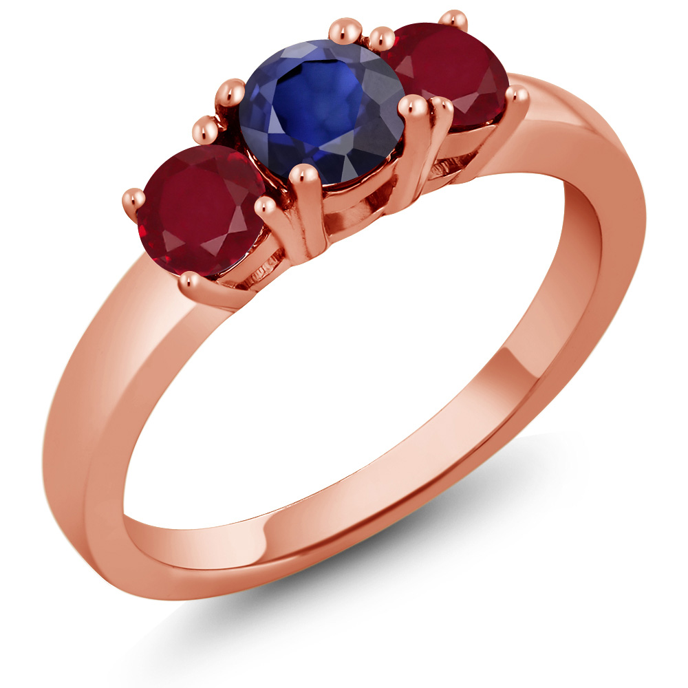 1.04 Ct Round Blue Sapphire Red Ruby 14K Rose Gold Ring