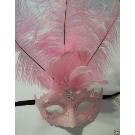 Crystal Princess Pastel Light Pink Venetian Feather Mardi Gras Masquerade Mask - Mardi Gras Mask On A Stick