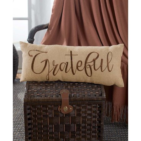 The Lakeside Collection Embroidered Burlap Bench Pillow - Grateful