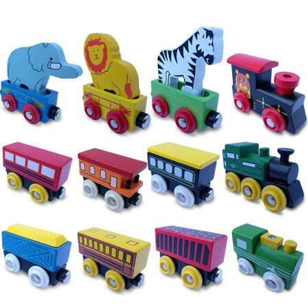 ToysOpoly The Premium 12 Pcs Wooden Engines & Train Cars Collection With 3 Extra Animals, 100% Compatible with Thomas Railway, Brio Tracks, and Chuggington System + Free Gift Box Design