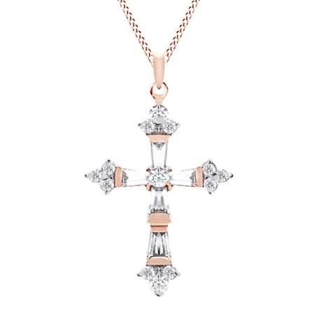 Baguette Cut Simulated April Birthstone Cubic Zirconia Cross Pendant In 14K Rose Gold Over Sterling Silver