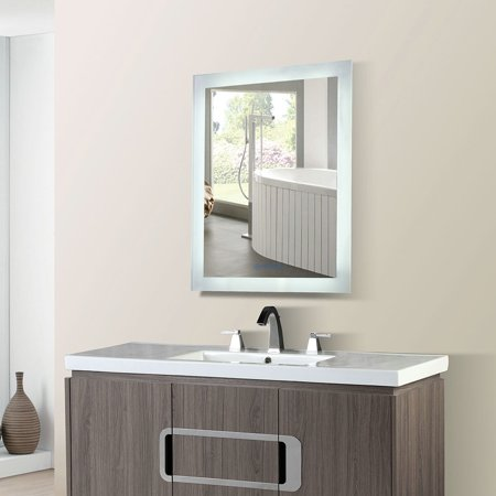 Bellaterra Home 24 in. Rectangular LED Bordered Illuminated Mirror with Bluetooth Speakers