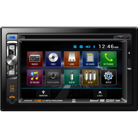 Dual Double DIN AM/FM/MP3/WMA DVD/CD Receiver, 50W x 4 with Front Panel 3.5mm Aux