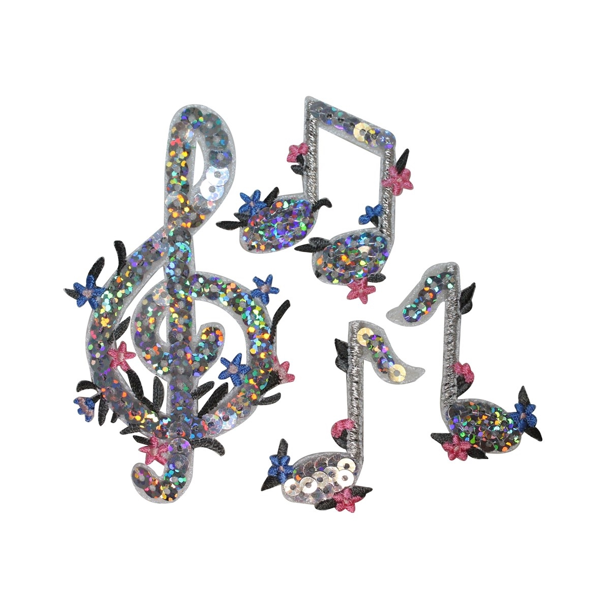 ID 3188A-D Set of 4 Floral Sequin Musical Notes Patches Music Iron On Applique