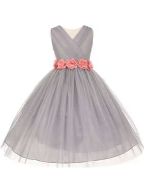 b2267babec Product Image Little Girls Silver Pink Chiffon Floral Sash Tulle Flower  Girl Dress 2