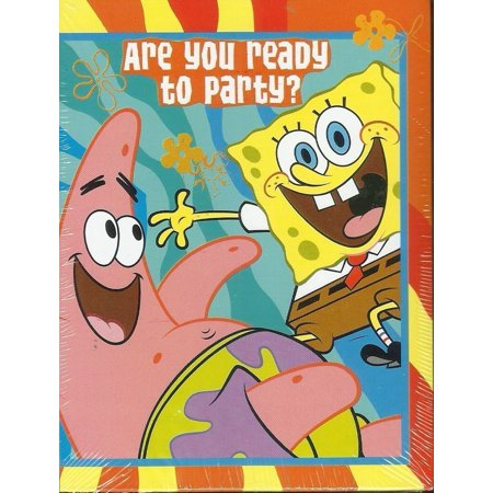 SPONGEBOB SQUAREPANTS PARTY INVITATIONS (8 INVITATIONS ; 8 THANK YOU POSTCARDS) By American Greetings,USA - Customized Spongebob Invitations