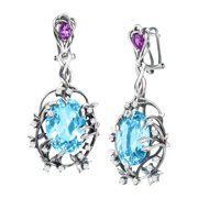 Iris Blossom Drop Earrings with Swiss Blue Topaz in Sterling Silver