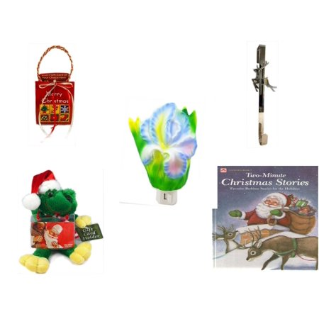 Christmas Fun Gift Bundle [5 Piece] - Musical Gift Card Holder - Silver Reindeer Over The Door Wreath Hanger  - Flower Nightlight Iris -  Santa Frog  Gift Card Holder 6