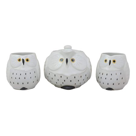 Ebros Gift Whimsical White Fat Snow Owl Ceramic 16oz Tea Pot With 2 Cups Set With Stainless Steel Strainer As Teapots And Teacups Home Decor Of Owls Owlet Nocturnal Bird](Teapot Planter)