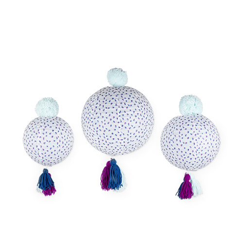 Paper Lanterns with Poms and Tassels by Cakewalk