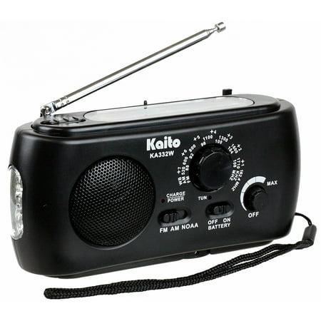 Kaito Ka332w Portable Hand Crank Solar Am Fm Noaa Weather Radio With 3 Led Flashlight   Black