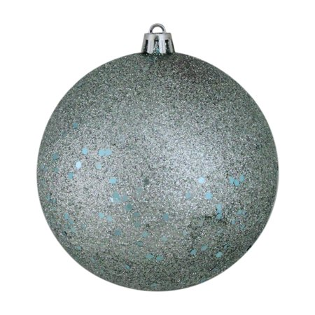"Baby Blue Shatterproof Holographic Glitter Christmas Ball Ornaments 4"" (100mm)"