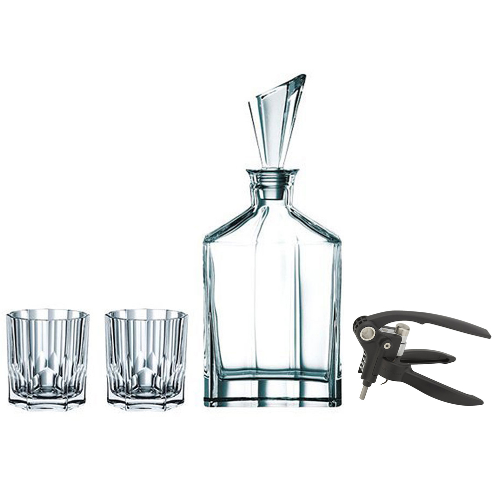 Nachtmann Aspen Decanter Set with Stopper and Whisky Tumblers, Clear (90024) with Deluxe Lever Corkscrew