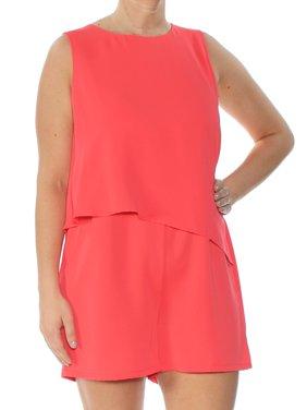 BAR III Womens Coral Asymmetrical Sleeveless Jewel Neck Romper  Size: L