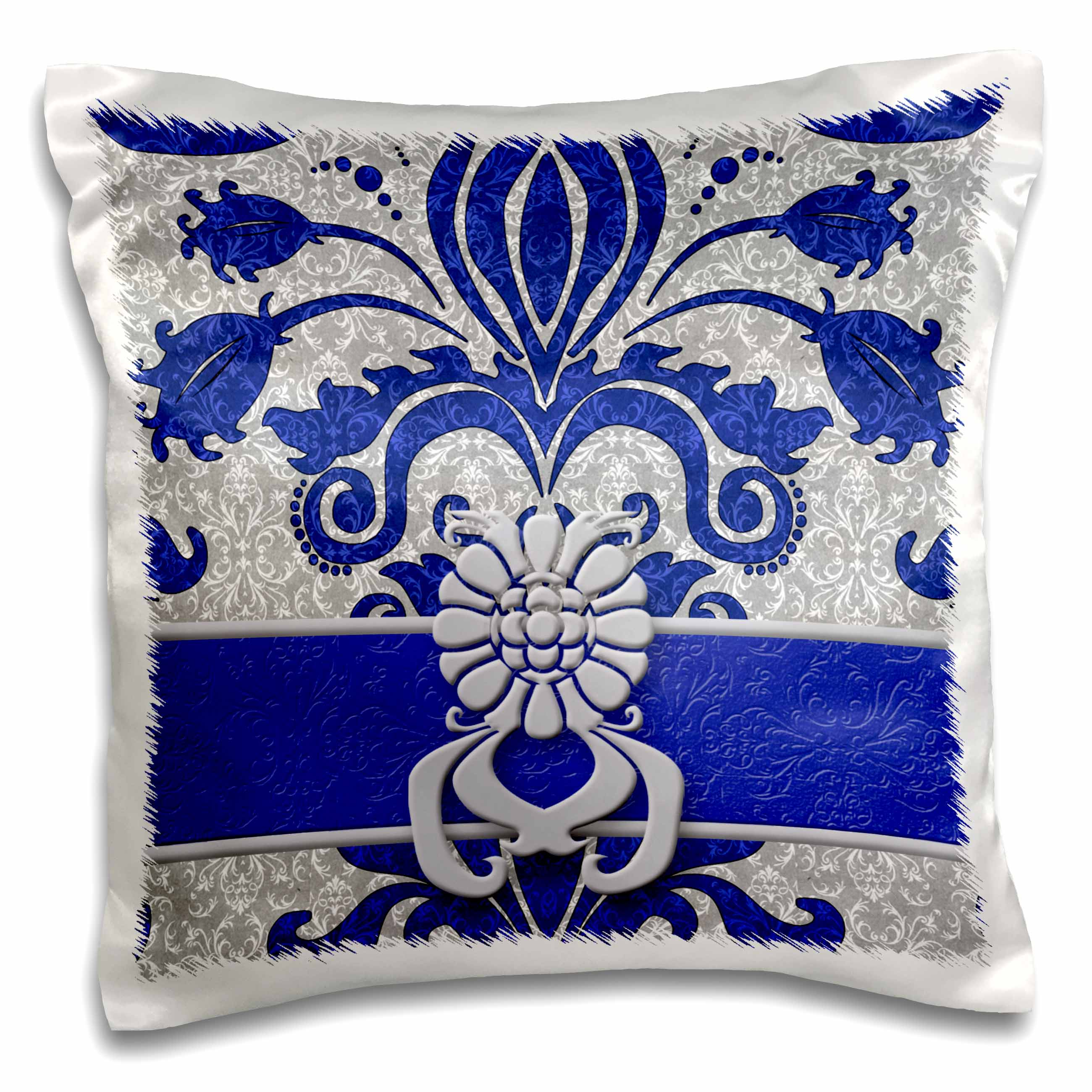 3dRose Damask Royal Blue and Silver - Pillow Case, 16 by 16-inch