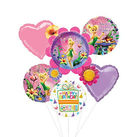 Tinkerbell Birthday Party Supplies and Flower Cluster Balloon Bouquet Decorations
