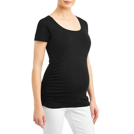 Maternity Short Sleeve Tee With Flattering Side Ruching - Available in Plus Sizes