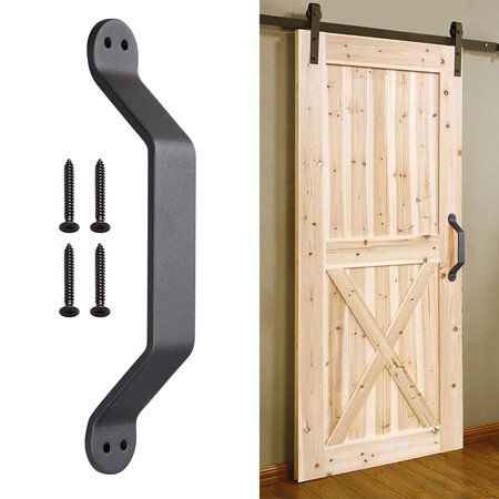 "Yescom 9 1/16"" Barn Handle Heavy Duty Cast Iron Pull Gate Shed Cabinet Matte for Sliding Wooden Door"