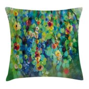 Watercolor Flower Home Decor Throw Pillow Cushion Cover, Vibrant Blooms Clusters down from Branch Spring Season Image, Decorative Square Accent Pillow Case, 16 X 16 Inches, Green Blue, by Ambesonne